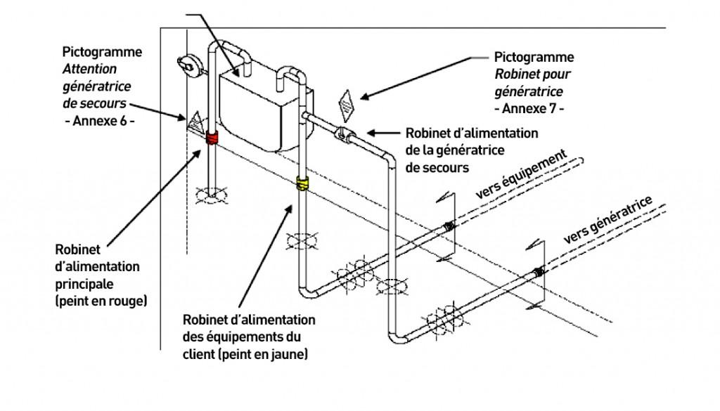 Figure 1: Tuyauterie de gaz dédiée à l'alimentation d'une génératrice au gaz naturel requise